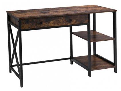 Počítačový stůl s policemi XLWD23BX / 115 x 60 x 76 cm / hnědá / černá