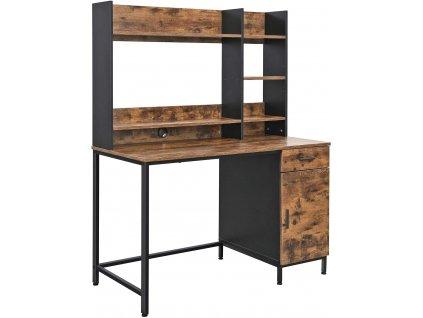 Kancelářský stůl se skříňkou 120 x 60 x 153 cm / hnědá / černá