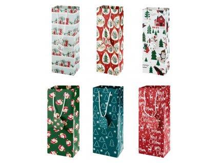Vánoční dárková taška / 13 x 9 x 36 cm / 6 ks