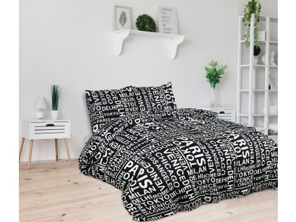 Povlečení Aydin z mikrovláken / 240x200 cm + 2x 60x70 cm / - černobílé nápisy