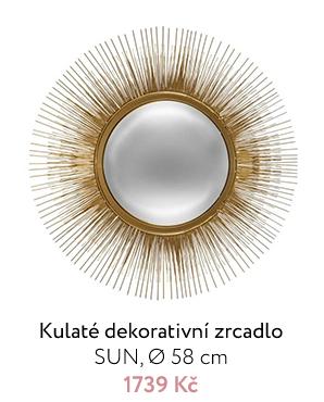 Kulaté dekorativní zrcadlo SUN,  Ø 58 cm, zlaté