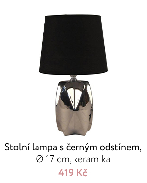 Stolní lampa s černým odstínem, Ø 17 cm, keramika