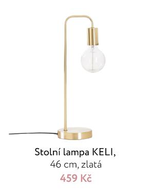 Stolní lampa KELI, 46 cm, zlatá