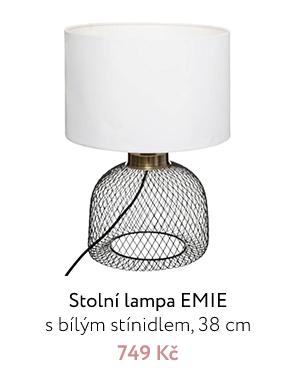 Stolní lampa EMIE s bílým stínidlem