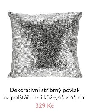 Dekorativní stříbrný povlak na polštář, hadí kůže, 45 x 45 cm