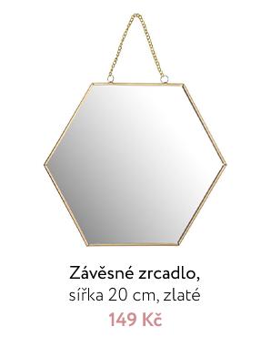 Závěsné zrcadlo, sířka 20 cm, zlaté
