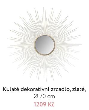 Kulaté dekorativní zrcadlo, zlaté