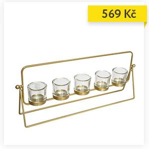 Svícen na 5 čajových svíček, zlatý