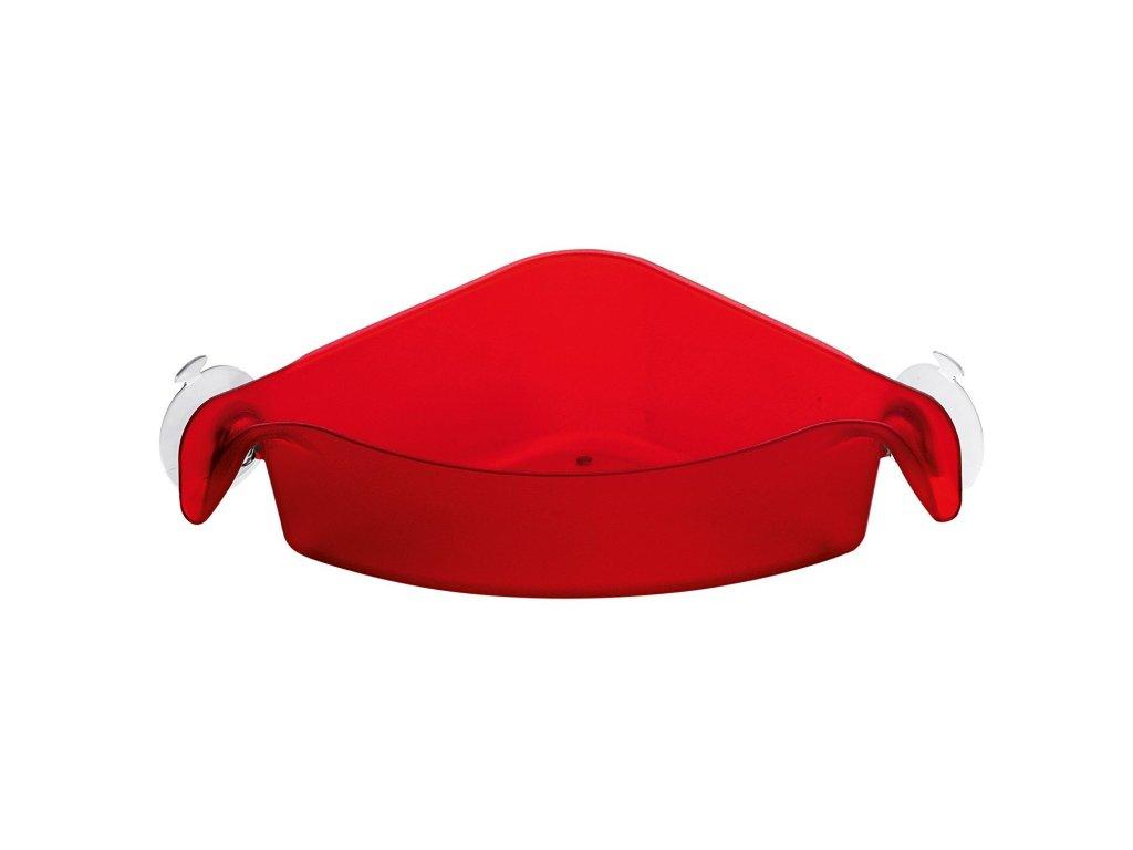 Koupelnová rohová police BOKS na přísavky - barva červená, KOZIOL