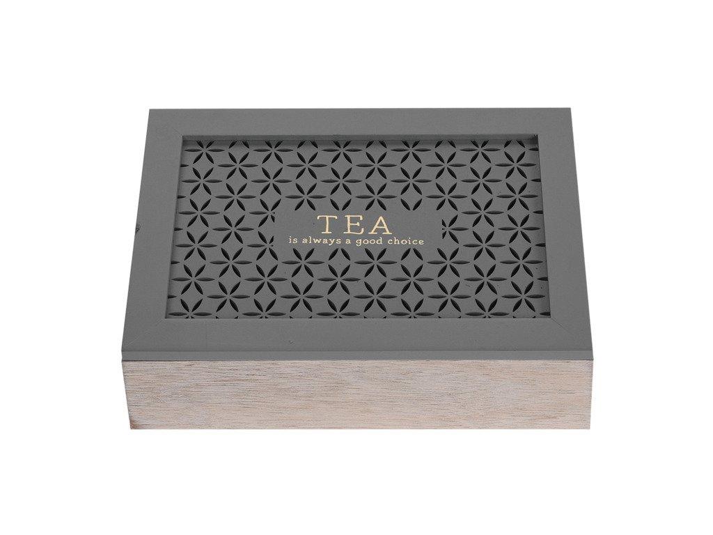 Dřevěná krabička na čaj  - 6 přihrádek, hnědá barva