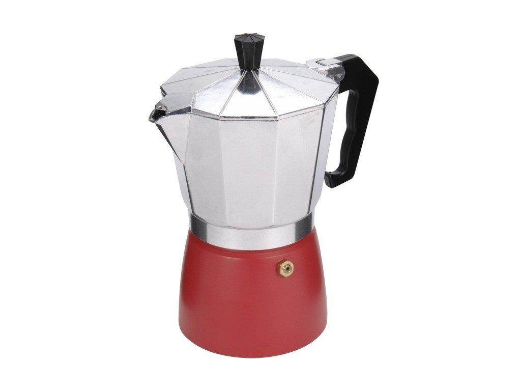 Moka konvička, konvička na espresso, červená barva, 18x16x10 cm, 300 ml