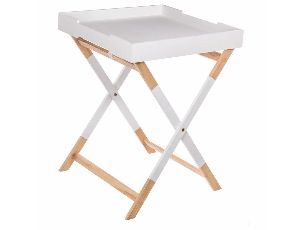 Skládací stolek, campingový stoleček, bílý stolek, konferenční stolek HEDRA - borové dřevo i MDF, 45 x 45 x 60 cm