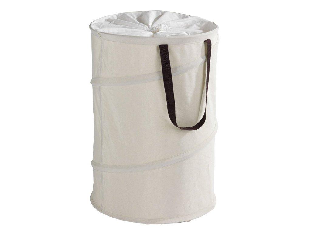 Kulatý koš na prádlo POP-UP, béžový - 75 l, WENKO