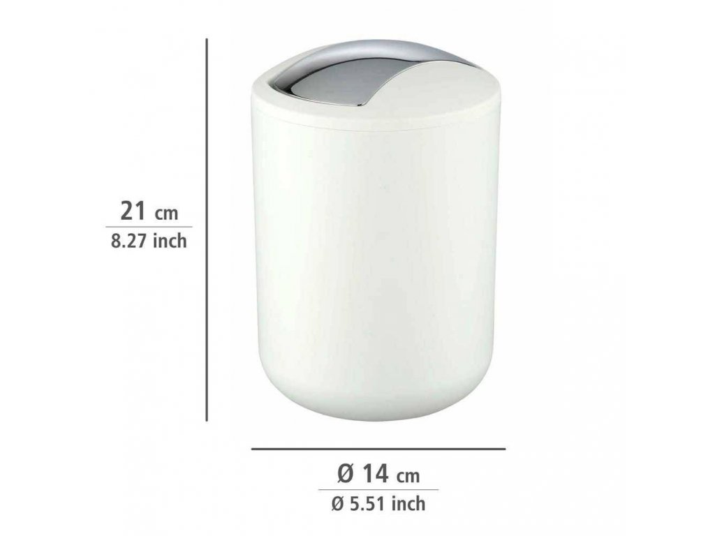Koupelnový koš  BRASIL WHITE, odpadkový koš,2 l,  barva bílá, WENKO