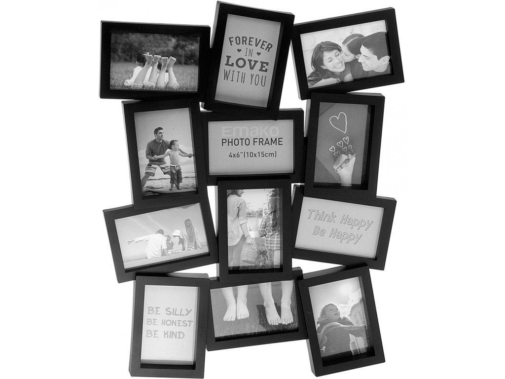 černý rámeček pro 12 fotografií, moderní design