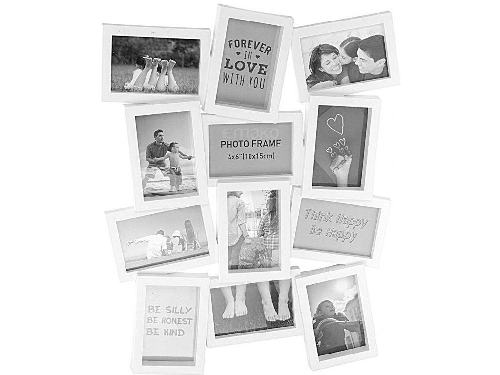 Bílý fotorámeček na 12 fotografií, 60x48 cm