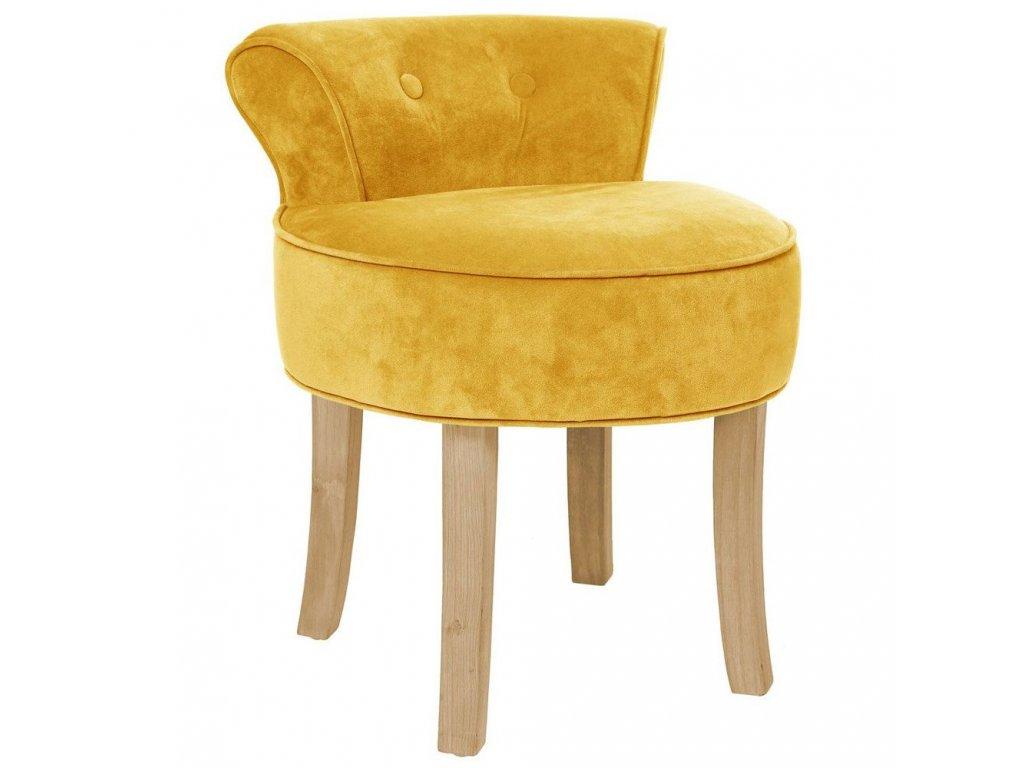 Taburet, židle, křeslo, snízkou opěrkou, lehce ohnuté borovicové nožky, nadčasový vzhled, pohodlí, potah vžluté barvě