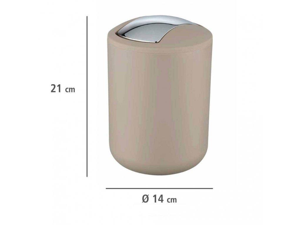 Koupelnový koš BRASIL, odpadkový koš,2 l,béžovo-šedý, WENKO