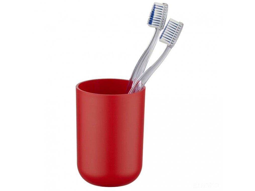 Elegantní červená nádobka na zubní kartáčky BRASIL