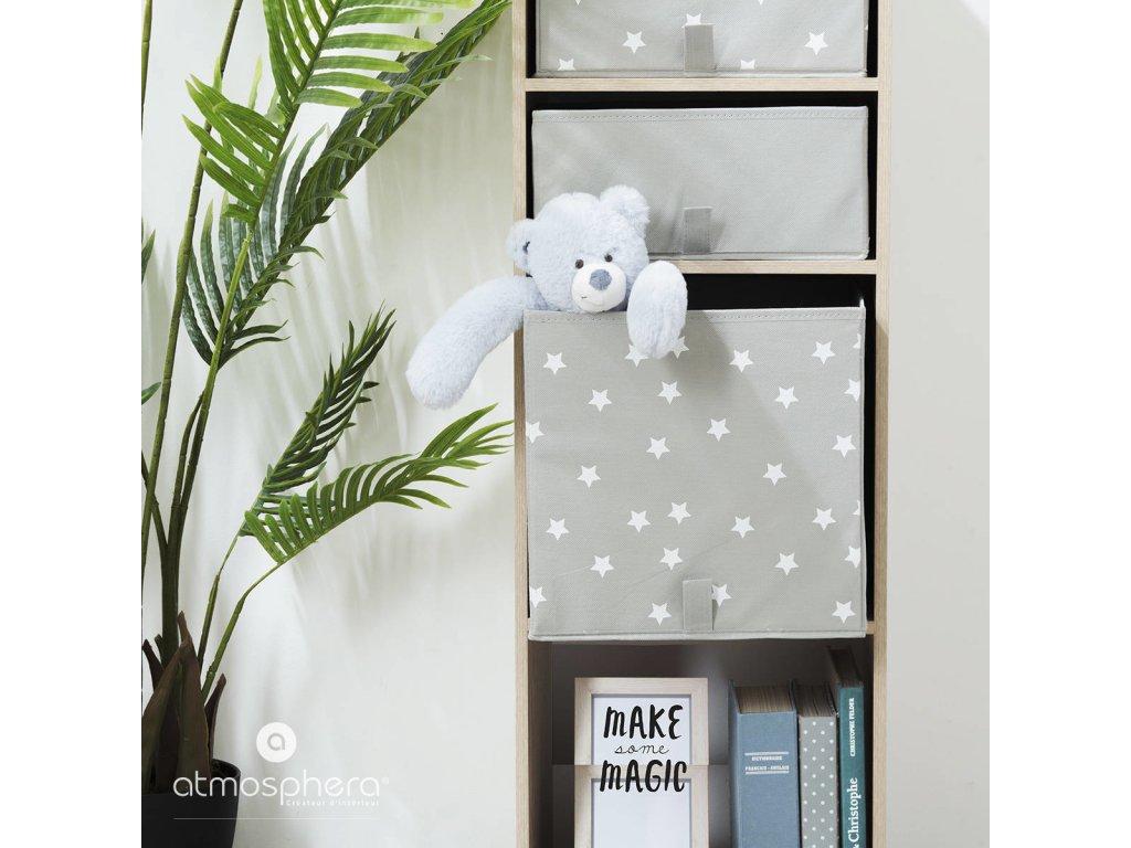 Úložný box, krabička na hračky, dětský úložný box, box na hračky, šedá