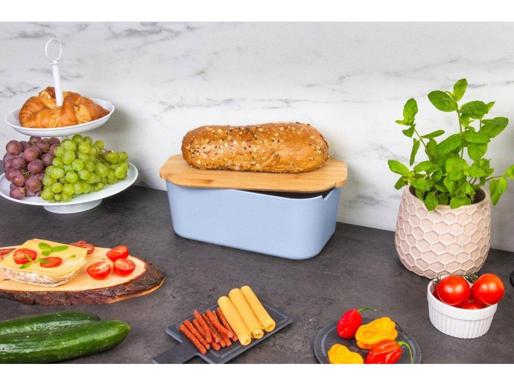 Kontejner na chléb, pekař na chléb s bambusovým prkénkem, 2v1, modrá
