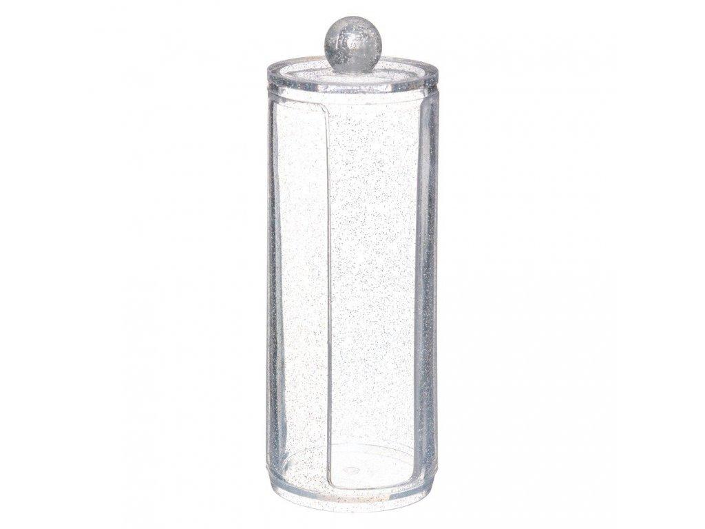 Kontejner pro kosmetické vločky GLITTER M, 19 cm, transparentní