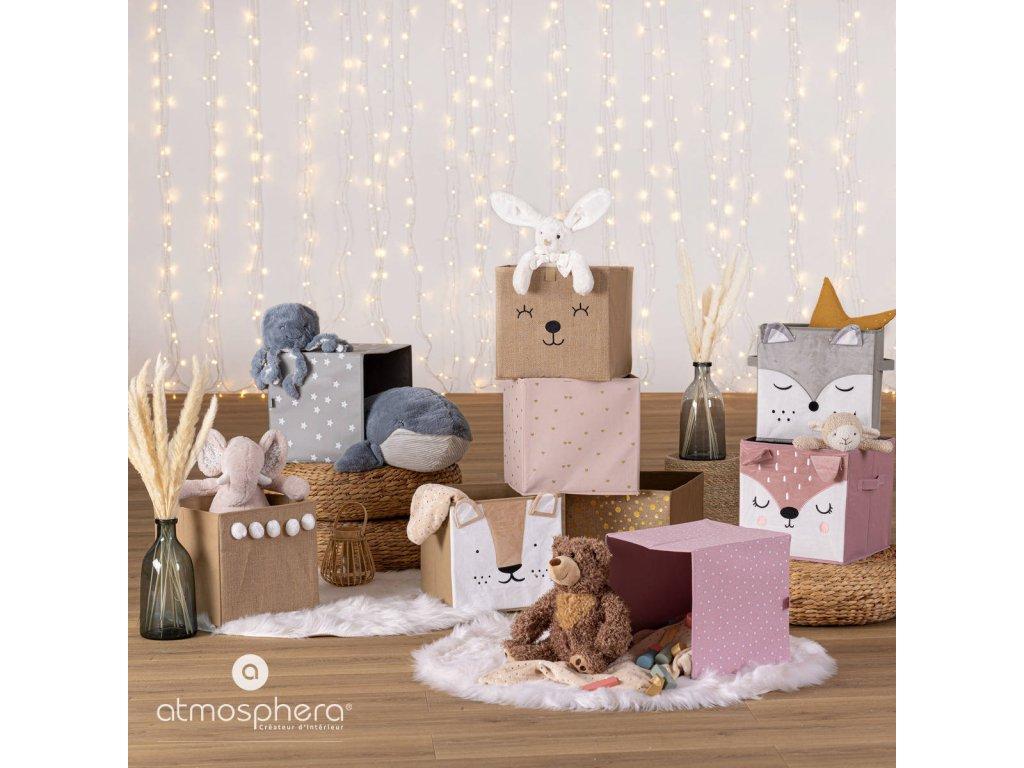 Textilní šedá nádoba Fox, 29x29x29 cm