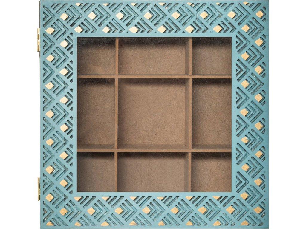 Dekorativní krabička pro 9 čajových příchutí v barvě přírodního dřeva se zeleným víkem s oknem