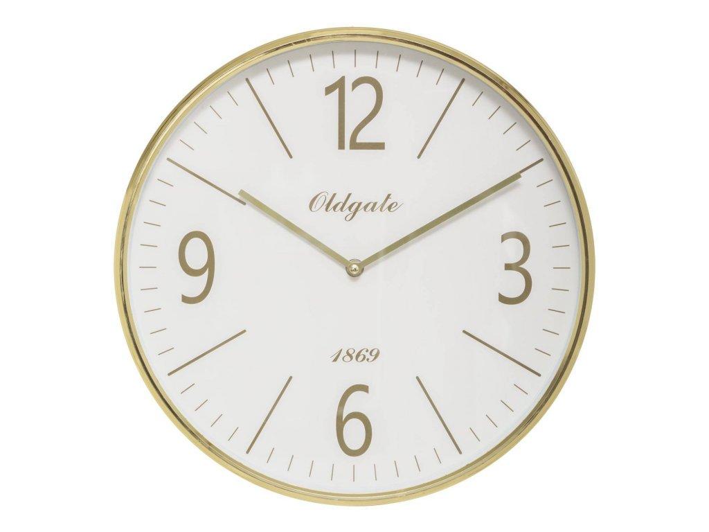 Zlaté nástěnné hodiny CLEO, O 35,5 cm, plastové