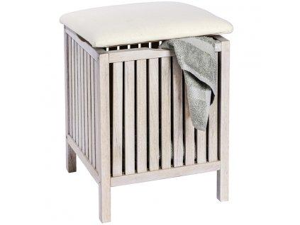 Dřevěný box se sedadlem NORWAY WHITE, 39 x 52 x 39 cm, WENKO