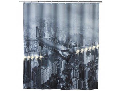Sprchový závěs, textilní OLD PLANE s osvětlením LED, 180x200 cm, WENKO