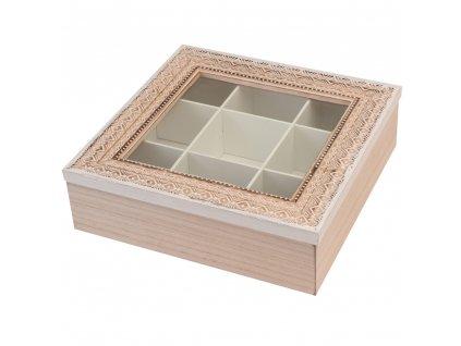 Dřevěná, dekorativní krabička na čaj - 9 přihrádek