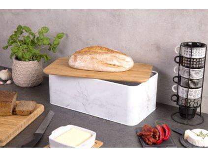Kovový kontejner na chleba MARBLE bambusové prkénko, 2v1, ZELLER