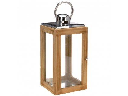 Dřevěná lucerna NATURAL  s rukojetí, svícen