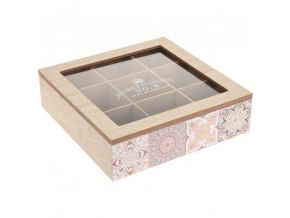 Dřevěná krabička na čaj KYRA DESIGN, 9 přihrádek - Emako