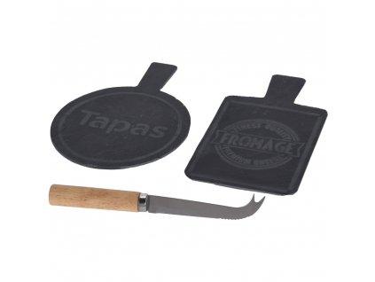 Kamenná deska na sýry s noži, sada 2 ks