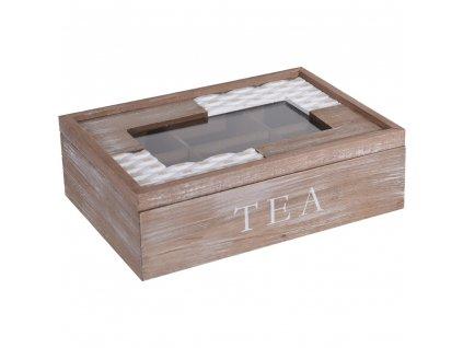 Krabička na čaj, 6 přihrádek, 24x17x8 cm, dřevěná