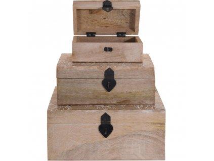 Sada 3 dřevěných boxů - přírodní barva dřeva