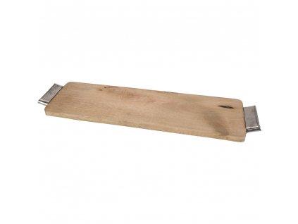 Dřevěný podnos pro podávání jídel s hliníkovými rukojetími