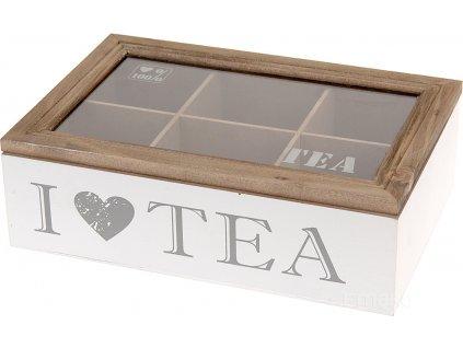 Dřevěná krabička na čaj I LOVE TEA