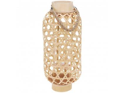 Bambusová lucerna s rukojetí, svícen dekorativní