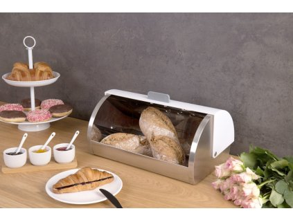 Kovový kontejner na chleba, pečivo -  nerezová ocel