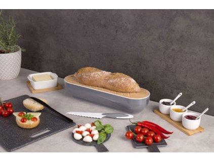 Kontejner na chleba, bambus, 2v1  + nůž na řezání chleba