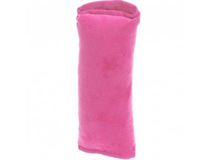Cestovní polštářek, do auta na bezpečnostní pás - barva růžová