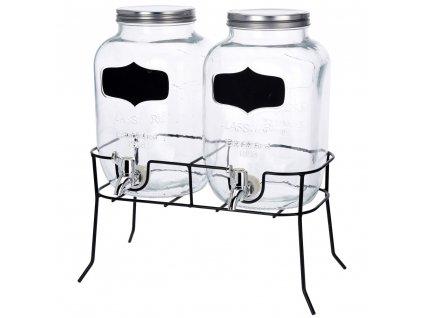 Dávkovač nápojů, skleněný - 2 x 4 l