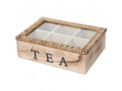 Dřevěná krabička na čaj  - 6 přihrádek TEA