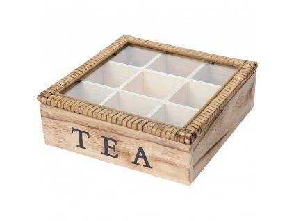 Dřevěná krabička na čaj 9 přihrádek TEA, dekorativní