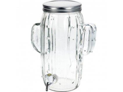 Dávkovač nápojů KAKTUS, skleněná nádoba s kohoutkem a víkem KAKTUS, zásobník na nápoje, 4 l