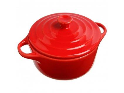 Keramické nádobí, keramický hrnec pro zapékání, nádobí pro dezertů, žáruvzdorné nádobí, nádobí pro servírování dipů -  O 10 cm, barva červená, 200 ml