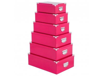 Úložný box, krabička na drobnosti, organizér pro uchovávání, 6 ks - barva růžová